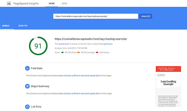 Screenshot 91 Google Pagespeed Score Lazy Loading Example