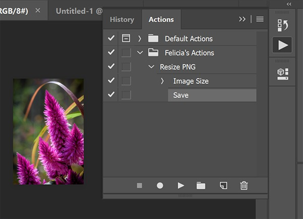 Screenshot of Photoshop Action with a resize and save step
