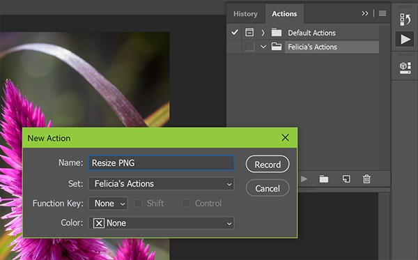 Screenshot creating action in Photoshop