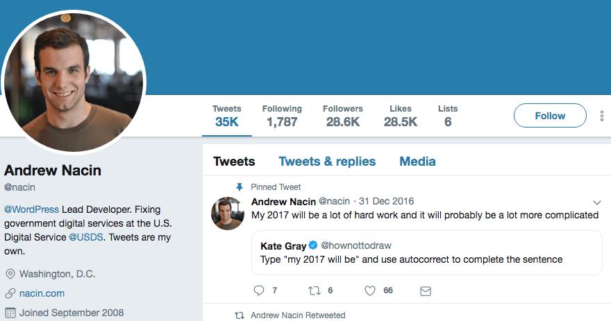 Andrew Nacin's Twitter profile.