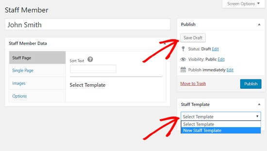 Choose Template for New Staff Member in WordPress