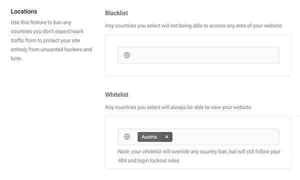 Country select for geo-location IP ban in Defender
