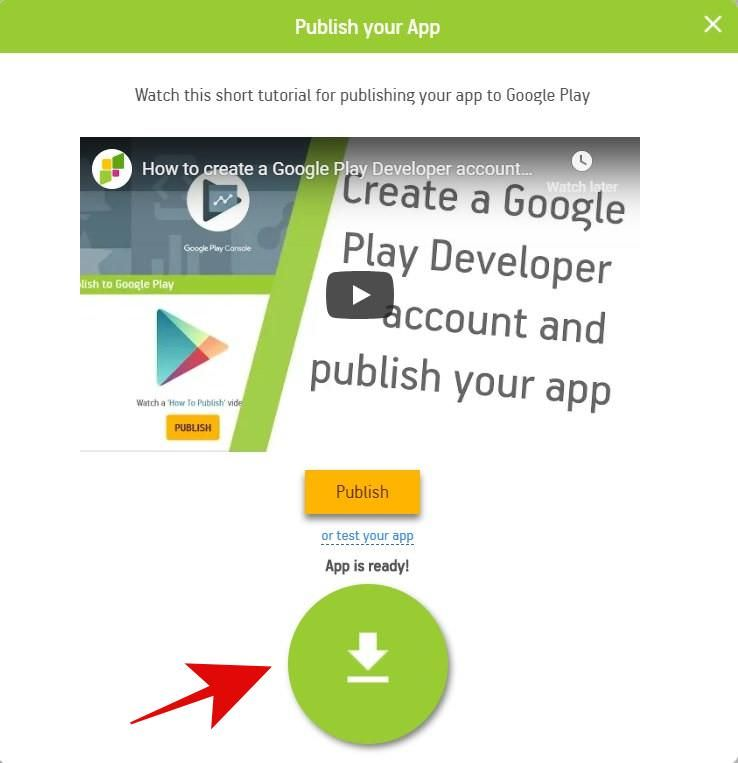 Download your Android app from AppsGeyser