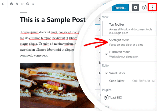 Enable Spotlight Mode in WordPress Editor
