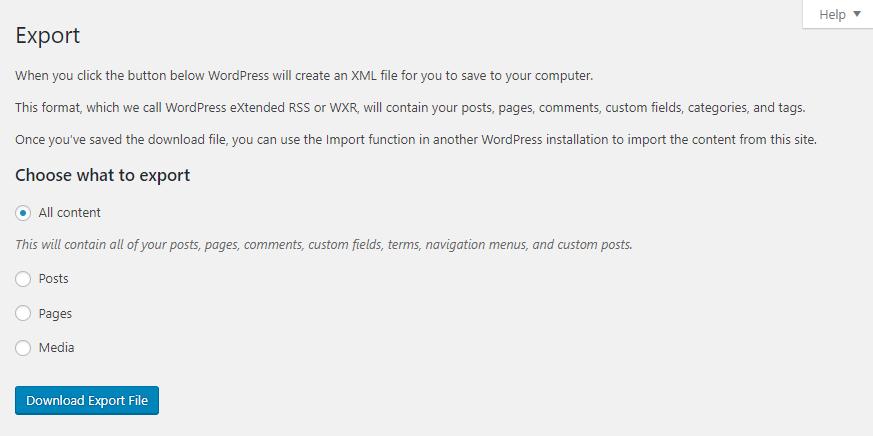 Exporting WordPress content.