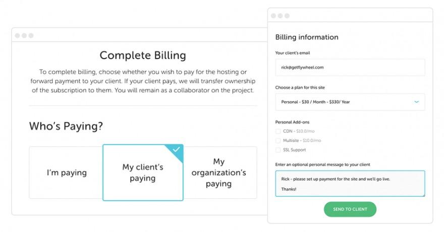 Flywheel's client billing transfer feature.