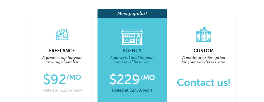 Flywheel's multiple site plans pricing table.