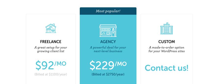 Flywheel's multiple site plans pricing table.