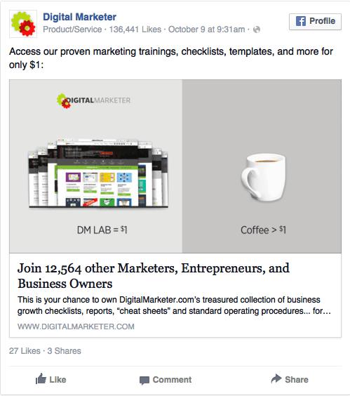 Good offer Facebook ad