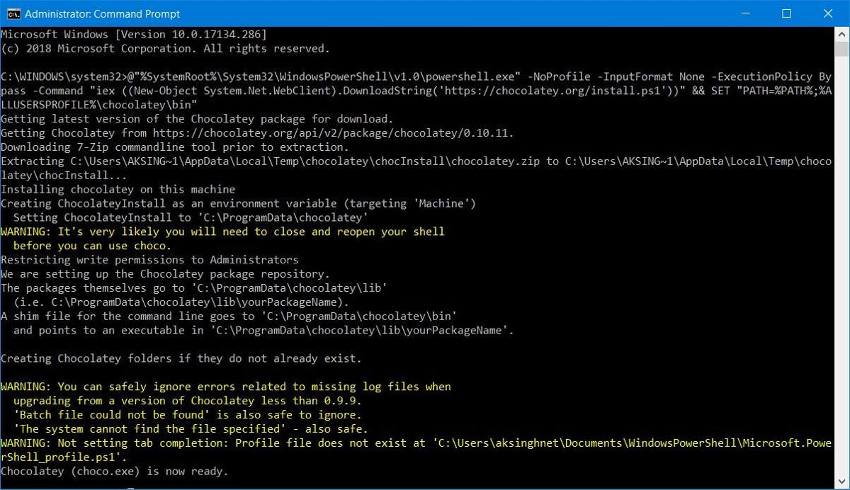 Install Chocolatey through Command Prompt