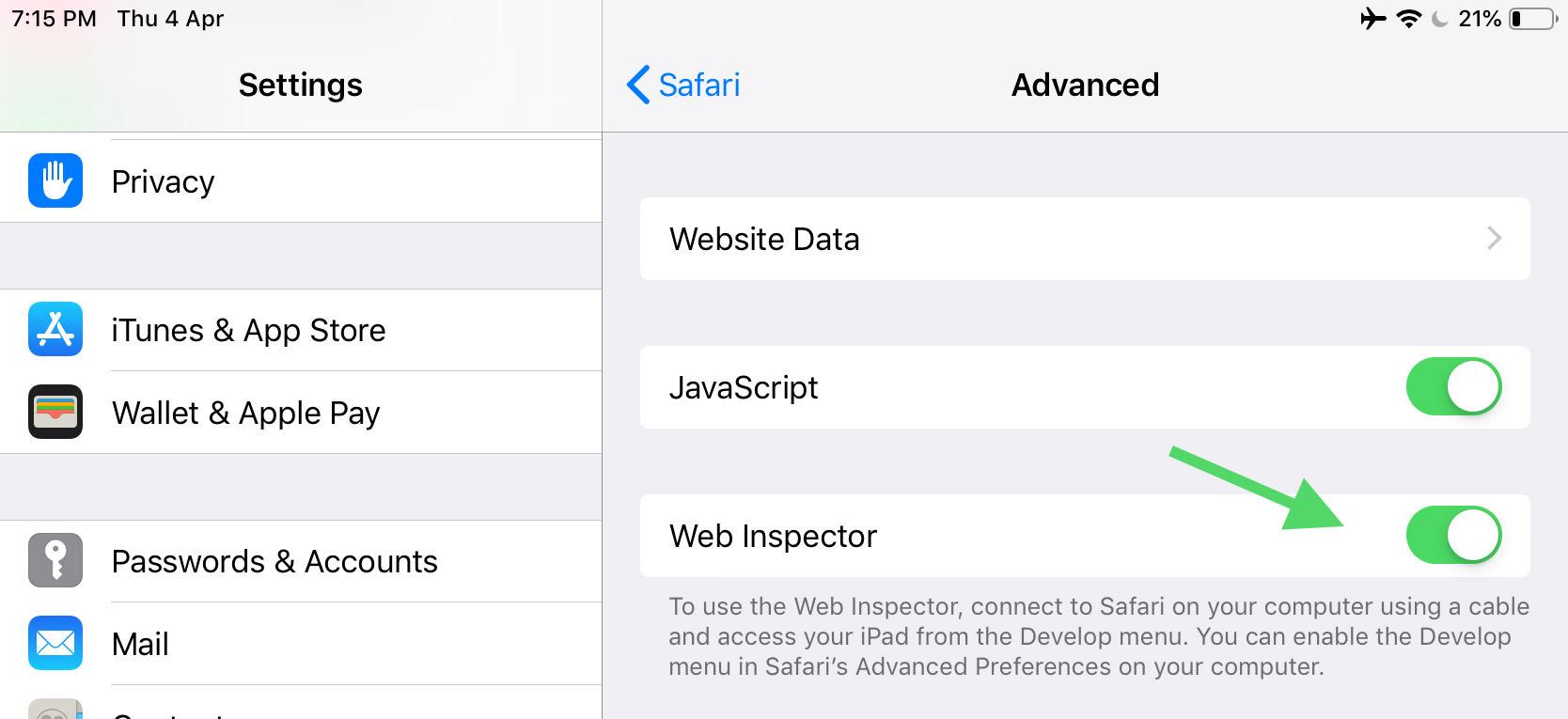 ios web inspector