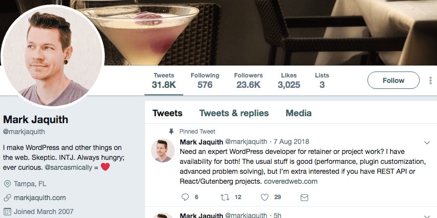 Mark Jaquith's Twitter profile.