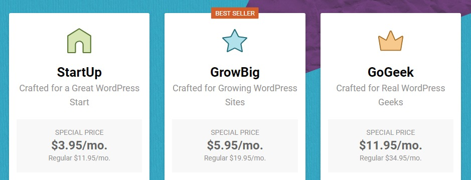 SiteGround's pricing.