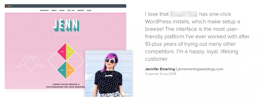 A testimonial including an image of the writer's own website.