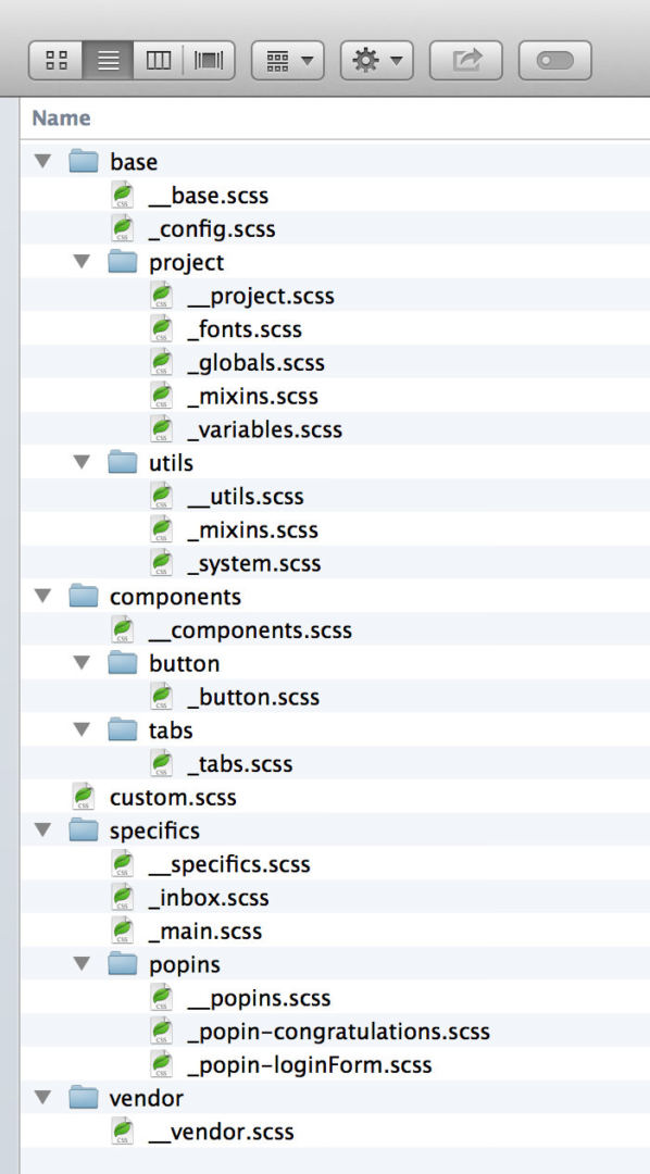 example sample scss sass directory structure osx
