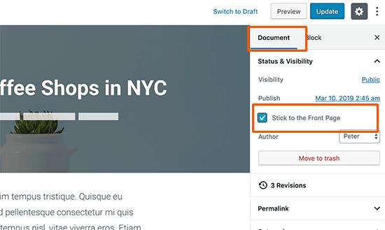 Make a post sticky in WordPress
