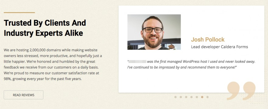 A testimonial featuring a professional photo of the writer.
