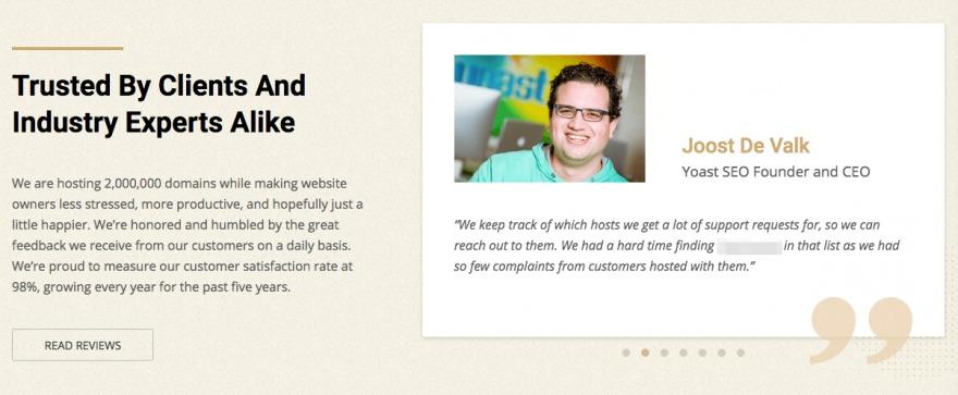 A testimonial from Joost de Valk, founder of Yoast SEO.