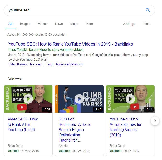 videos in google serps