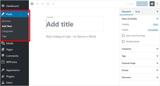 New WordPress Post Screen