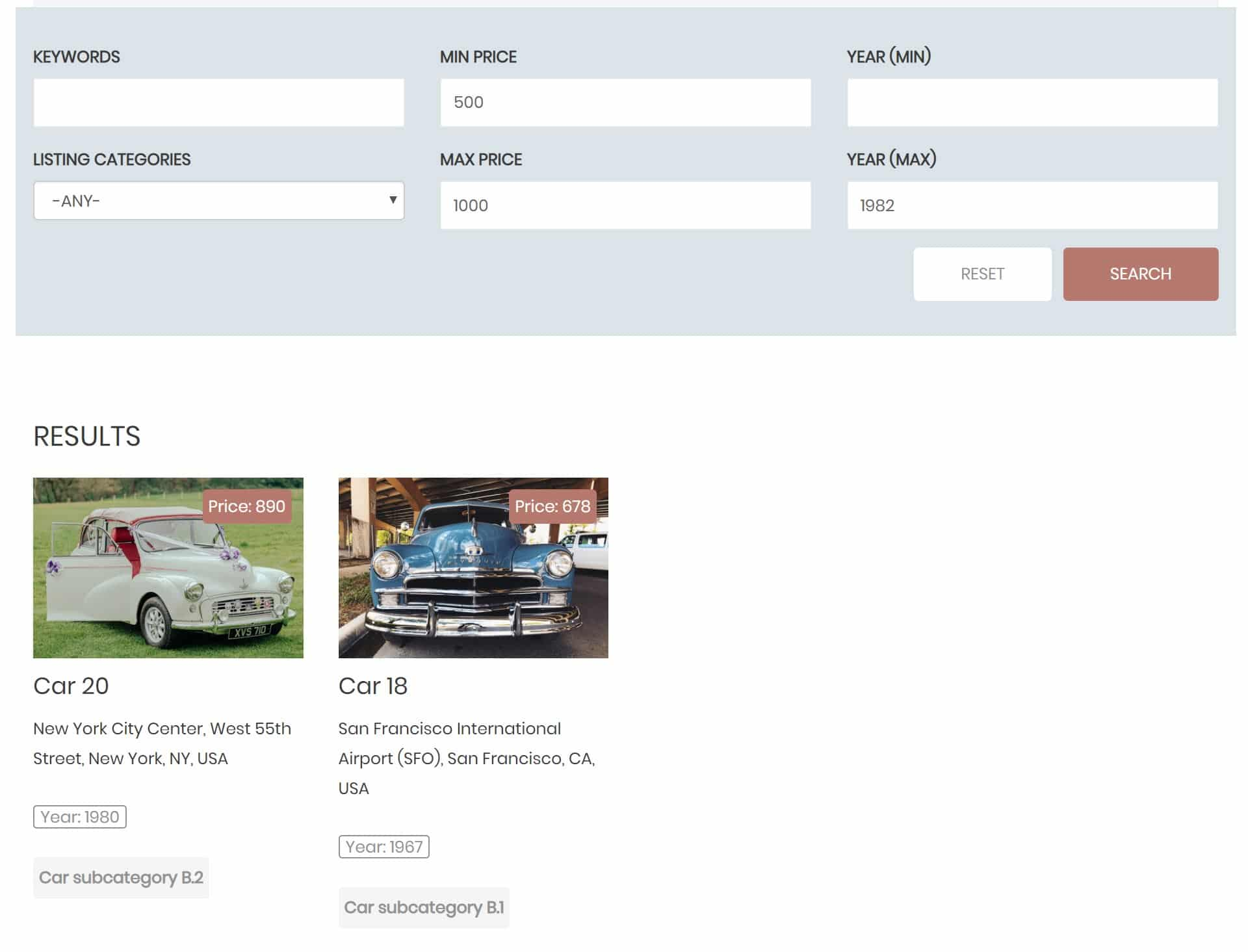 Search layout example