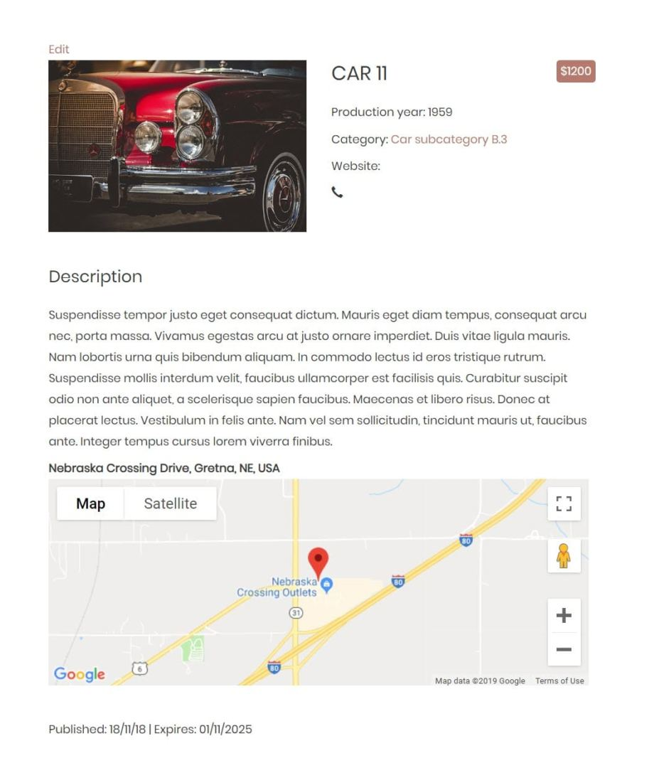 Cars listing template example