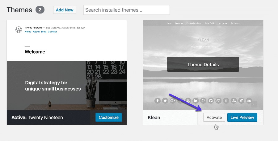 How to activate a theme in WordPress