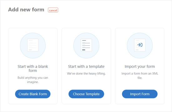 Choose a Way to Add a New Formidable Form