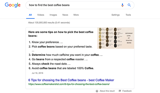 Answer box in search results