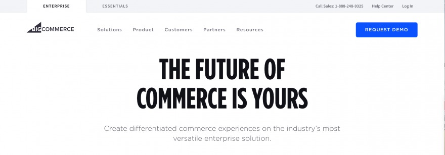 The BigCommerce Homepage.