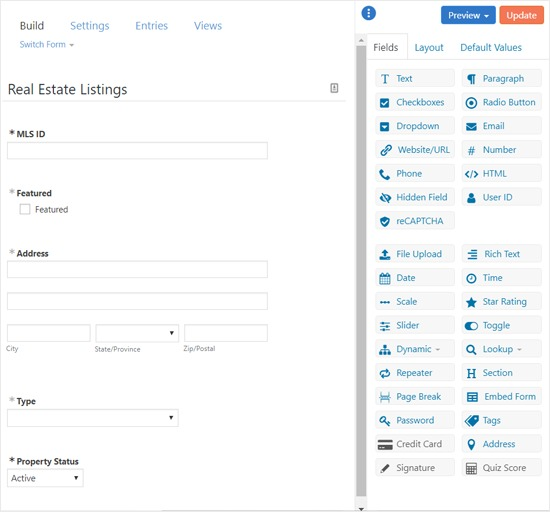 Formidable Forms - Form Builder Interface