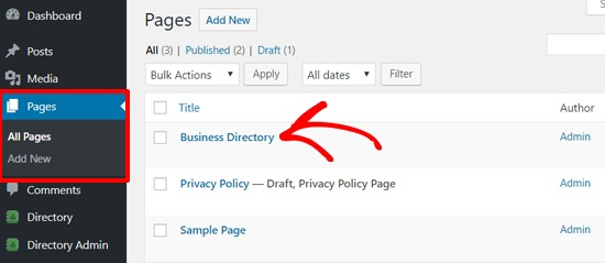 Business Directory Page Added in WordPress