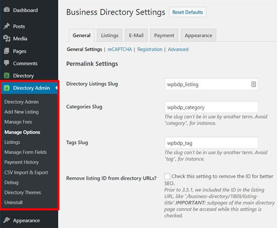 Business Directory Plugin Settings