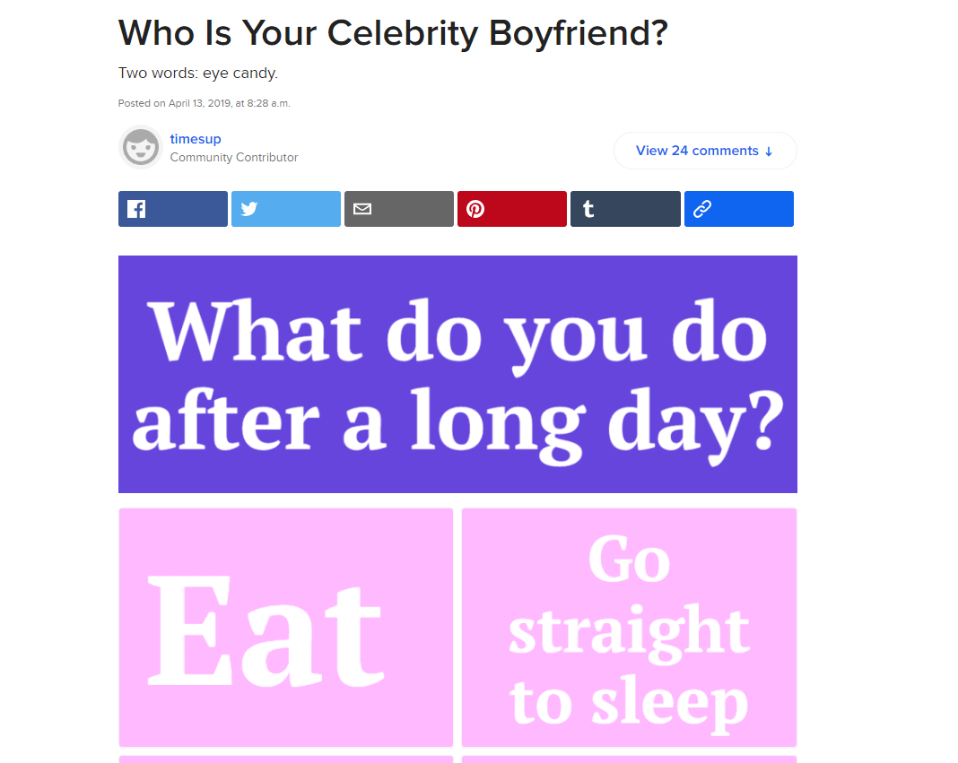 An example of a Buzzfeed quiz.