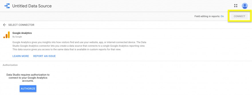 The authorize and connect buttons for a new data source in Google Data Studio.