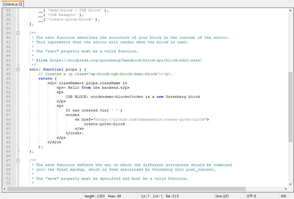 create guten block code