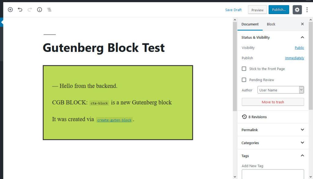 create guten block sample block