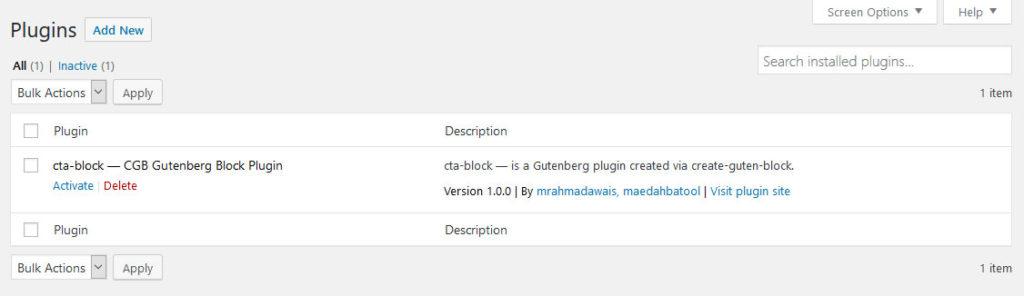 create guten block in plugin menu