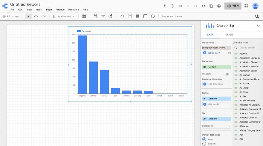 The chart customization options in Google Data Studio.