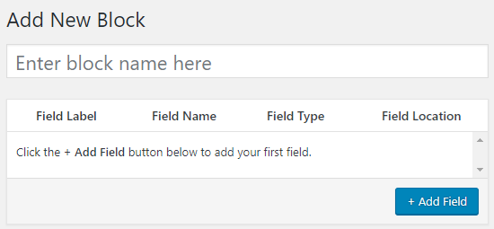 Enter Custom Block Name