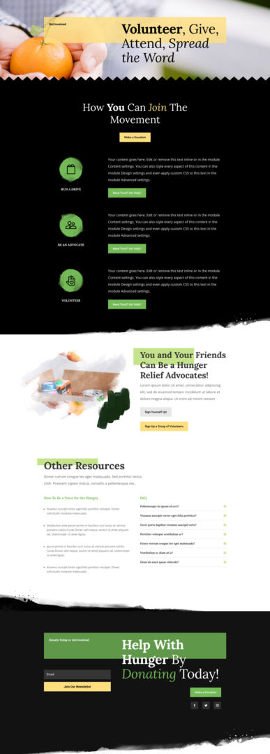 divi food bank layout pack