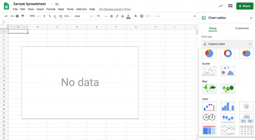 Inserting a chart with Google Sheets.