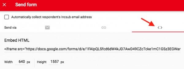 Google form embed link