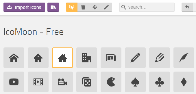 Selecting icons in Icomoon.