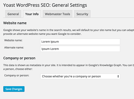 Yoast WordPress SEO setting