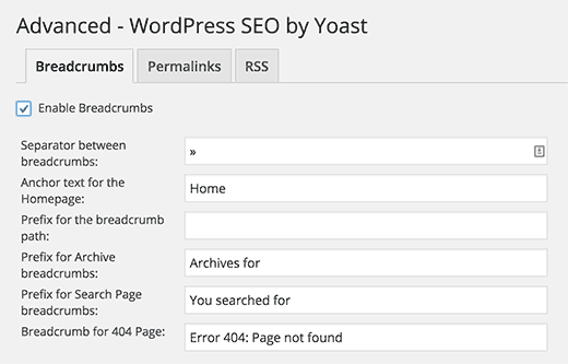 Yoast SEO plugin breadcrumbs settings