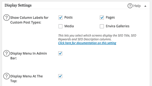 display SEO title and description on posts screen