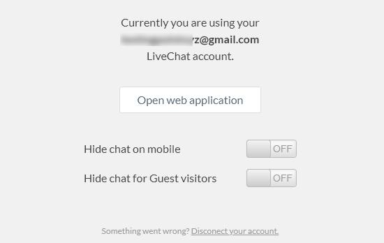LiveChat WordPress plugin settings page