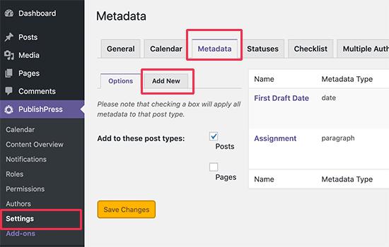 Managing editorial metadata