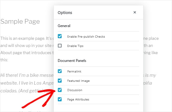 Page document options